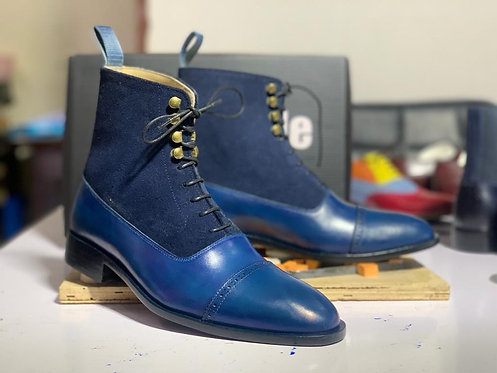 Royal Blue Cap Toe Ankle high Lace Up Boot