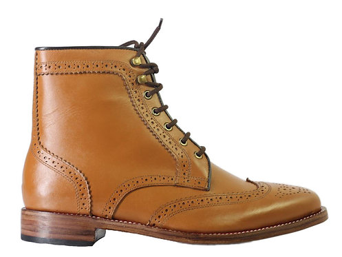 Men's Bespoke Tan Brown Ankle High Leather Boots