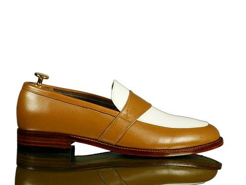 Men's Tan White Slip on Leather Shoes