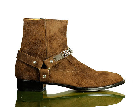 Men Brown Jodhpurs Suede Leather Boots Buckle boots