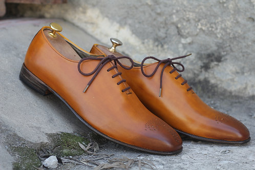 Oxford Tan Lace Up Brogue Leather Shoes