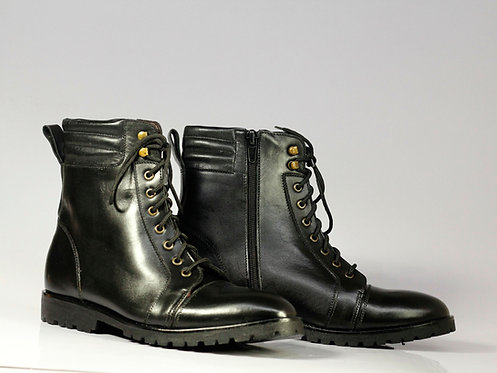 Handmade Men's Black Ankle Military Leather Formal Boots