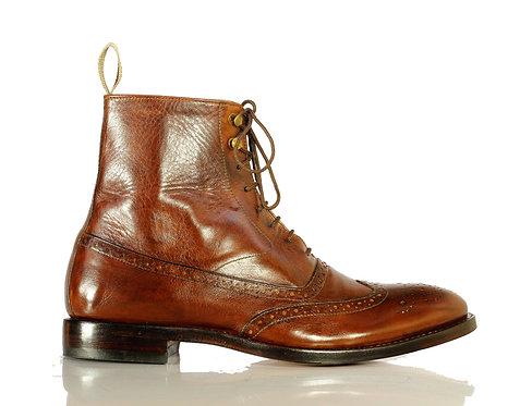 Men's Bespoke Brown Ankle High Leather Boots