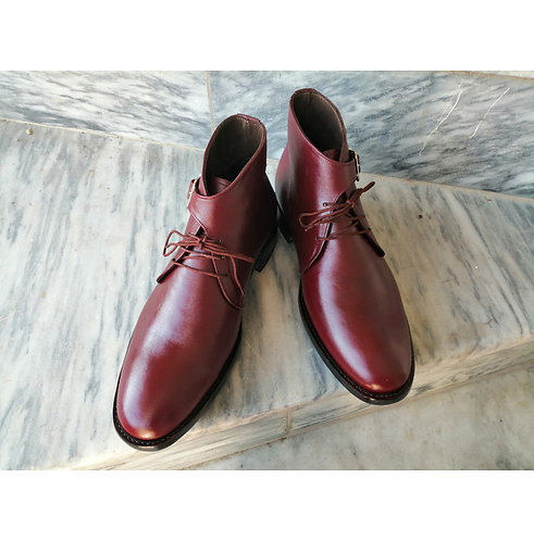 Men's Ankle Leather Boot,Handmade Dress Designer Burgundy Boots