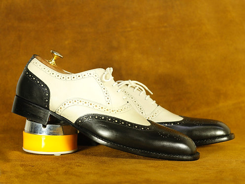 Elegant Black & Off White Leather Brogue Shoes