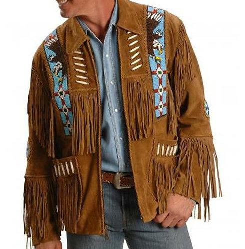 Men Western Fringe Jackets, Tan And Black Fringe Jacket, Fringe Jacket