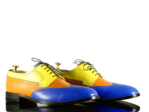 Multi Wing Tip Lace Up Brogue Leather Shoes