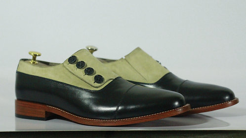 Hand Painted Two Tone Button Top Cap Toe leather Suede Shoes