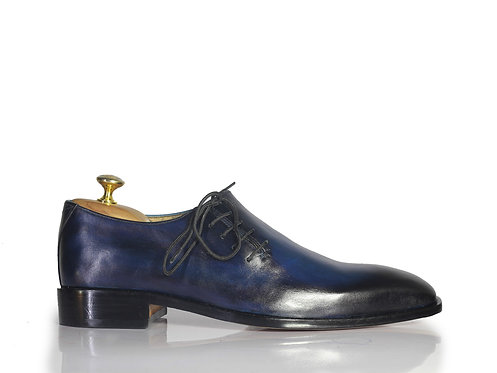 Navy Blue Whole Cut Side Lace's Leather Shoes