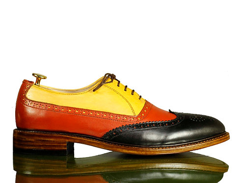 Bespoke Men Multi Color Wing Tip Oxford Leather Shoes