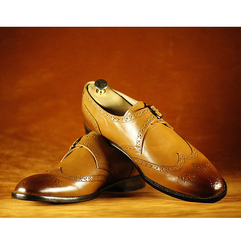 Mens Tan Wing Tip Monk Leather Shoes Handmade Retro Elegant Oxford Shoes