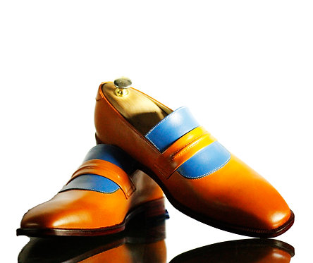 Handmade Tan & Blue Penny Loafers Oxford Leather Shoes