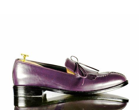 Purple Bespoke Men's fringe Slipper Leather Shoes