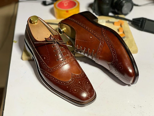 Burgundy Lace UP Wing Tip Brogue Leather Shoes