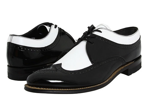 Oxford White & Black Wing Tip Spectator Patent Leather Shoes