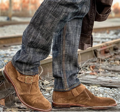 Handmade Men's Beige Suede Monk Strap Boots (2)