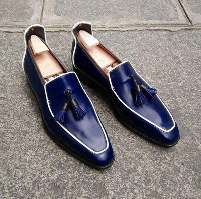 Navy Blue Tasseled Oxford Leather Loafers