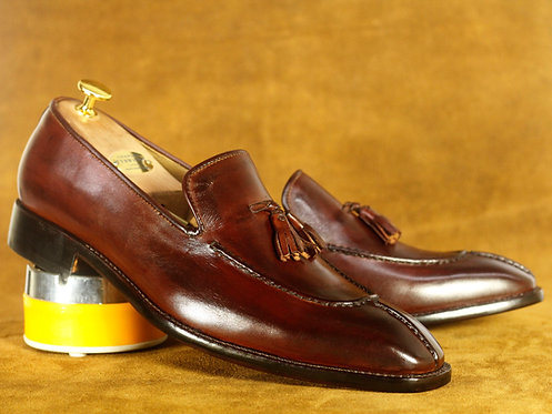 Split Toe Cordovan Tasseled Leather Slip On Loafers