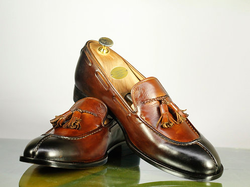 Bespoke Men Split Toe Brown Tussles Loafers Dress Leather Shoes