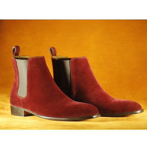 Men's Burgundy Velvet Ankle Chelsea Oxford Boot
