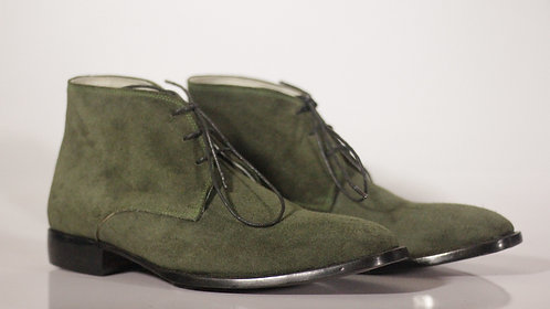Half Ankle Olive Green Chukka Leather Suede Boot