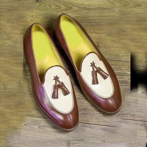 Men Bespoke Men Brown & White Tussles Loafers Dress Leather Shoes