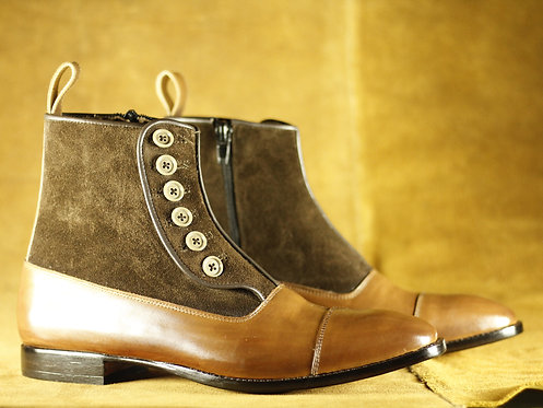 Men's Brown Cap Toe Boots Leather Suede Ankle Button Top Dress Boot