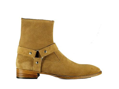Men's Beige Jodhpurs Suede Leather Boots Buckle Boots