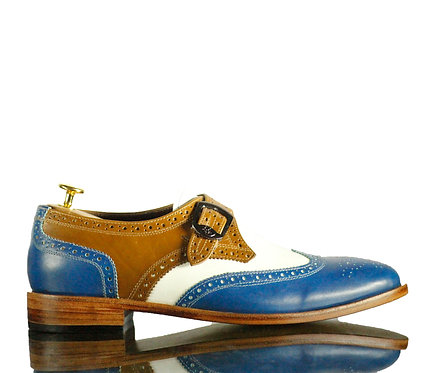 New Handmade Men Multi Color Monk Leather Buckle Shoes