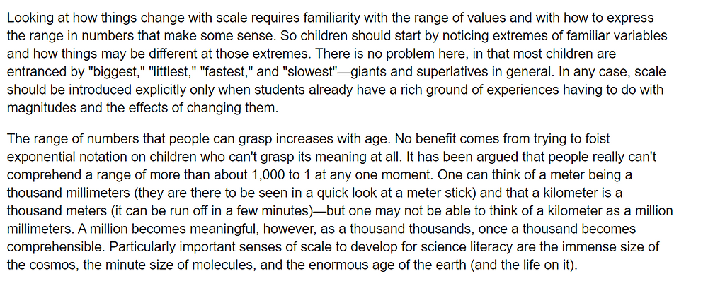 Extract from Benchmarks of Scientific Literacy