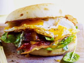 Bacon & Egg Turkish Panini w Herbed Aioli & Greens