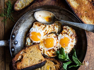 Moroccan Fried Eggs w Chilli & Smoked Paprika Oil