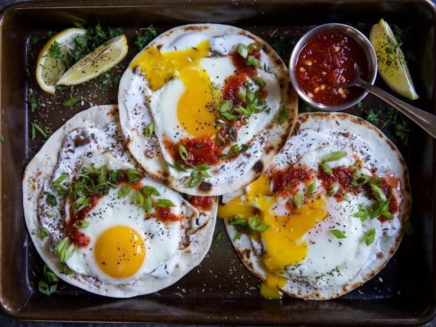 Za'atar Fried Egg Tortilla w Greek Yoghurt, Sweet Chilli