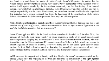 AITJ reacts to Saudi court final verdict on Khashoggi case