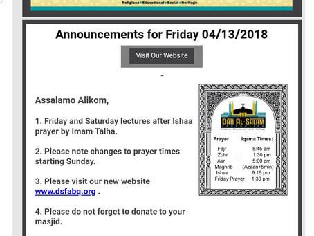 Announcement 4/13/2018