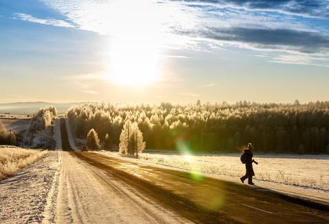 Рассвет на дороге по пути на Байкал, после Баяндая