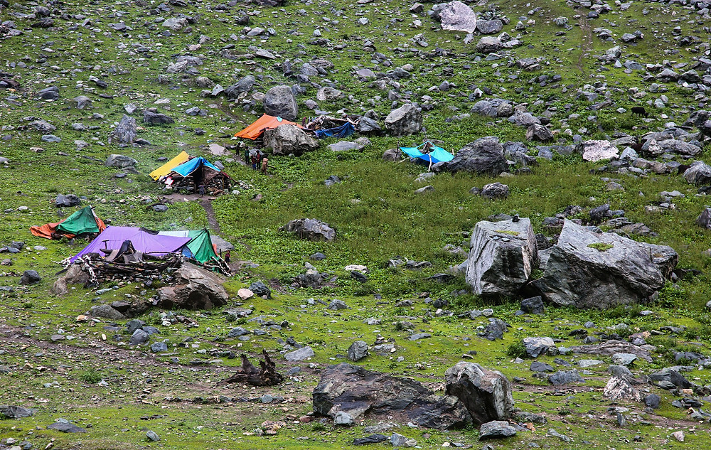 Пастушьи домики-палатки в Сонамарге, Кашмир, Индия