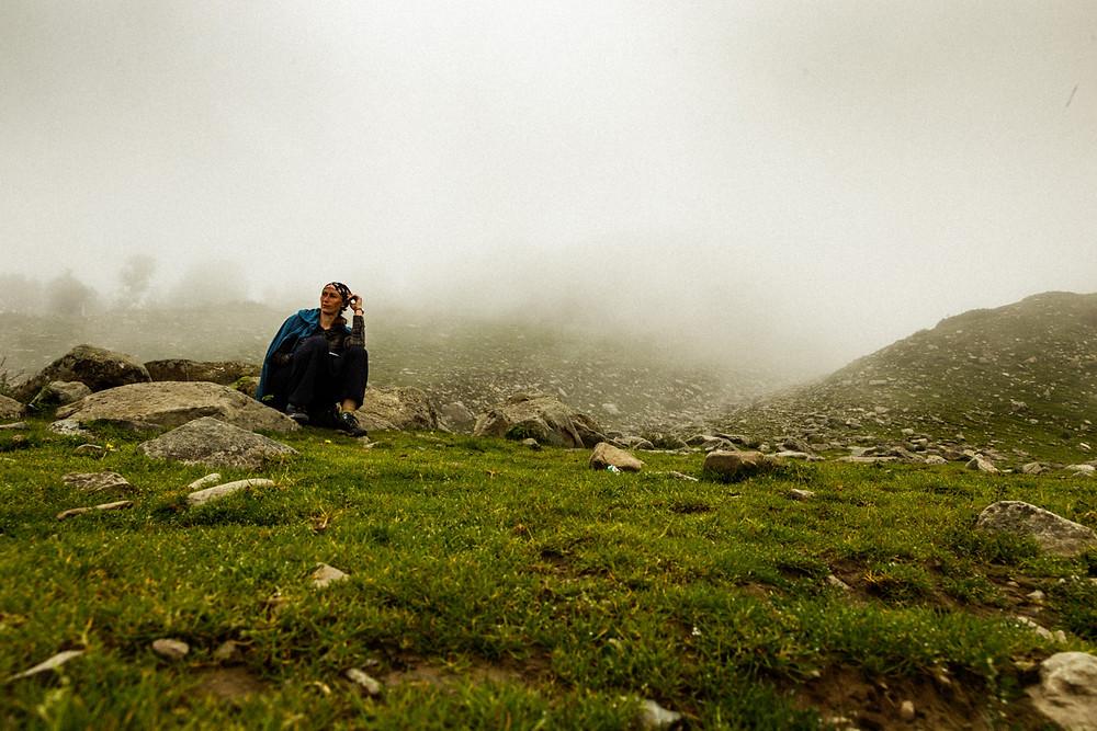 Селфи в облаках Гульмарга, Кашмир, Индия
