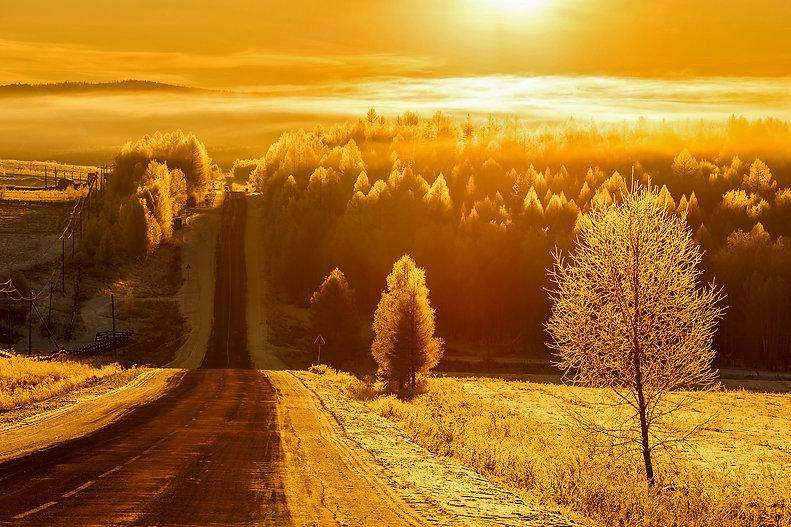 Дорога на Байкал и лес декабрьским утром