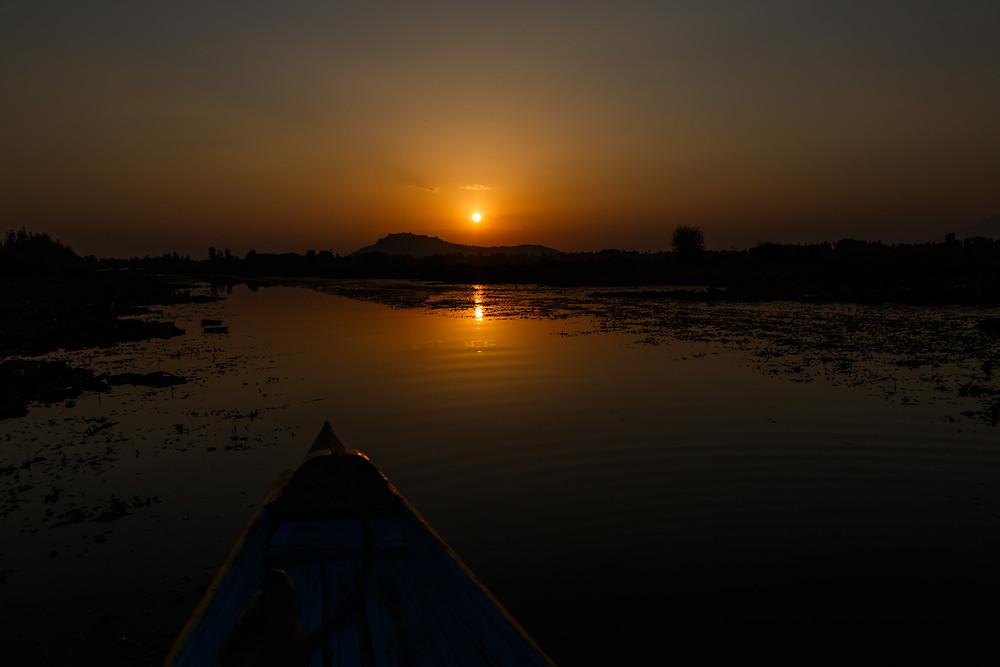 Закат на озере Дал, Шринагар, Кашмир, Индия