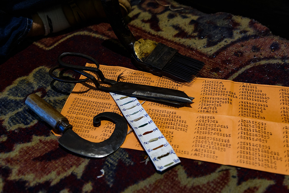 Инструменты мастера по кашмирским коврам