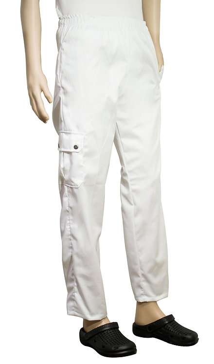Vista lateral pantalon blanco con bolsillo