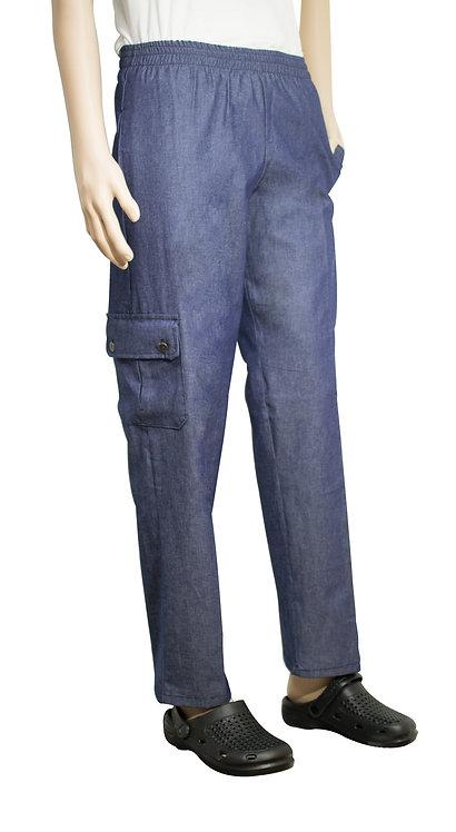 Vista lateral pantalon jean azul con bolsillo