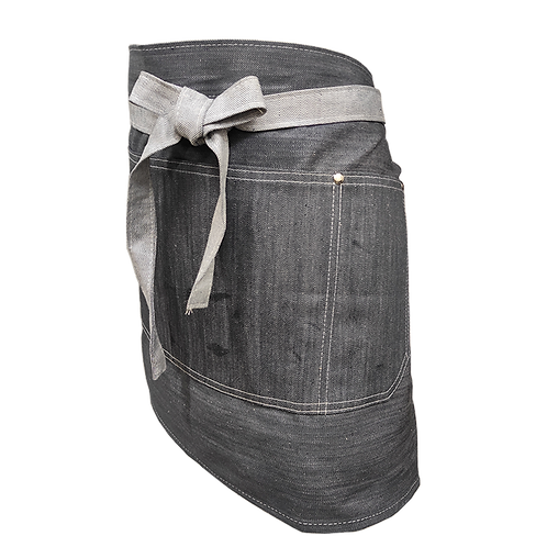 Delantal de jean corto gris con tachas