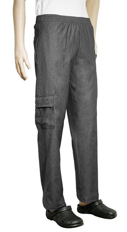 Vista lateral pantalon jean gris con bolsillo