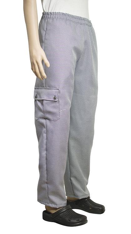 Vista lateral pantalon pie de pull con bolsillo