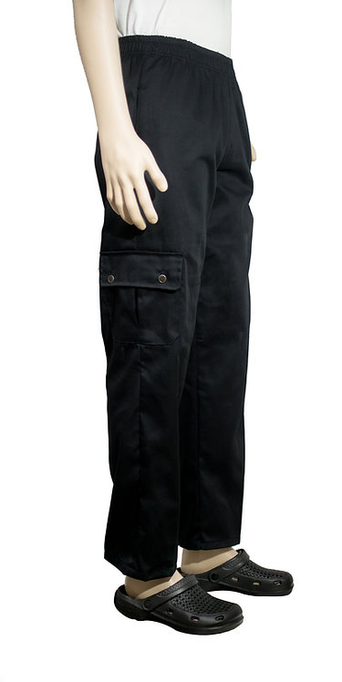 Vista lateral pantalon negro con bolsillo