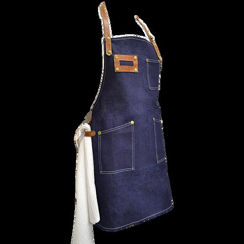 Delantal jean con detalles en cuero
