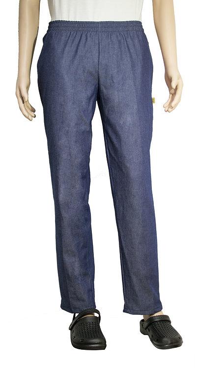 Vista frontal pantalon azul jean