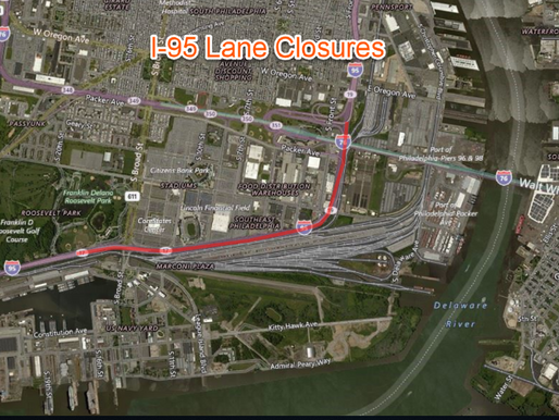 I-95 Lane Closures Scheduled Next Week for Sign Inspections in Philadelphia